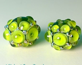 Green Bumpy Beads - Handmade Lampwork Beads - SRA - UK