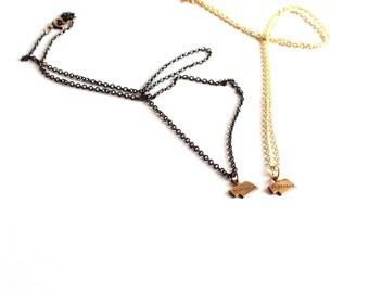 SALE brass Nebraska necklace - hand stamped state jewelry