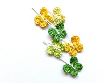 Crochet butterflies applique - spring embellishment - scrapbooking supplies - yellow butterflies - kids party decoration - set of 6  ~1 inch