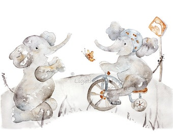 Elephant nursery art, Nursery Wall Art, Elephant Print, Bicycle,Tricycle, Nursery Decor, playroom art, childrens decor, 11x14