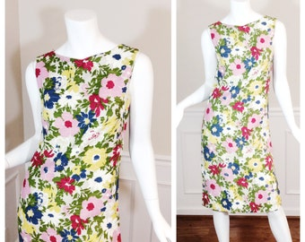 Vintage 1960s Floral Sheath Wiggle Dress by Century of Boston