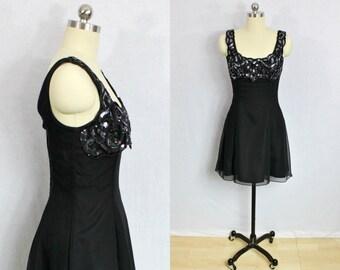 Vintage Black sequin and chiffon mini dress