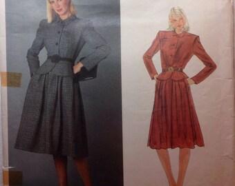 Vintage Vogue Paris Original VALENTINO Designer Sewing Pattern Jacket and Skirt Size 10 1980s Uncut