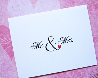 Mr and Mrs Note Cards, Wedding Thank You, Mr. and Mr., Mrs. and Mrs., Bride and Groom, Gay Lesbian Couple Stationery, Bridal, Engagement