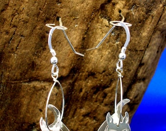 Sterling silver 3D Scottie Dog earrings