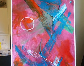 Abstract painting Sheer joy! Pink red blue