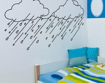 Vinyl Wall Art Decal Sticker Rain Clouds OSAA1649m