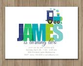 Train Birthday Invitation, Boy Invitation, Train Custom Name Invitation, DIY, Printable, 1061