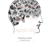 ANTIQUE BRAIN PRINT - Phrenology Head Chart - Digital Download Anatomical Head Medical Illustration --Instant Wall Art
