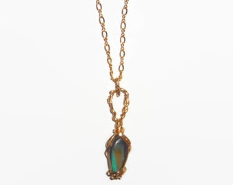 Wire Wrapped 4.41ct Boulder Opal Pendant Necklace 14K Rolled Yellow Gold