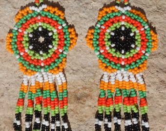 Colorful Green Orange Peyote Stitched Beaded Earrings
