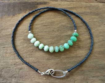 Green Ombre Chrysoprase Necklace, rustic Bohemian mint green and gray gradient beaded necklace with silver accents