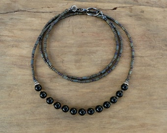 Dainty Black Onyx Necklace, rustic black stone bead necklace perfect for layering, simple everyday Bohemian jewelry