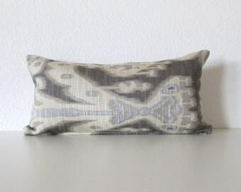 Mini Lumbar Pillow - 8x16 - Ivory - Gray - Dark gray  - Ikat pillow - Lumbar Pillow Cover