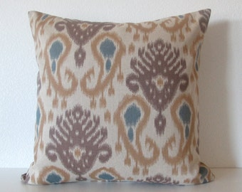 Barbados Ikat Mocha teal brown ikat decorative pillow cover
