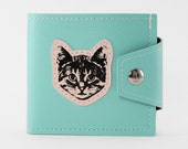 Neon Mint and Pink Cat Wallet - Get your Meow on - Vegan