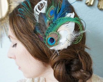 ETHYL -- Vibrant Green and Blue Unique Peacock and Sword Feather Fascinator Modern Day Wedding Bridal Hair Clip Headpiece