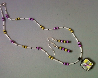 Pink, Yellow, Black and White Necklace and Earrings (0904)