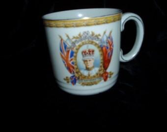 Antique Souvenir Cornation Cup Mug 1937 Edward VIII England Historical King Grindley