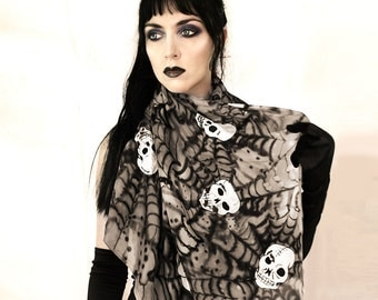 Silk skull scarf - day of the dead fashion
