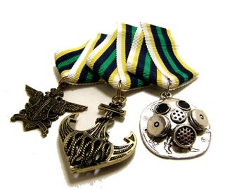 Steampunk Cosplay Medal // Custom DOUBLE CHARM Medallion // Green Navy Gold Ribbon