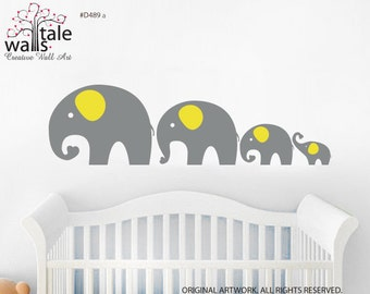Elephant Line Wall decal, family of elephant for baby room,  for Children' Nursery Bedroom Decor - Removable Vinyl Wall Art Sticker- d489a