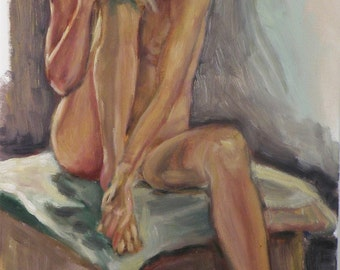 Sasha sitting - an original oil on canvas painting. 40-50 % discount upon request.