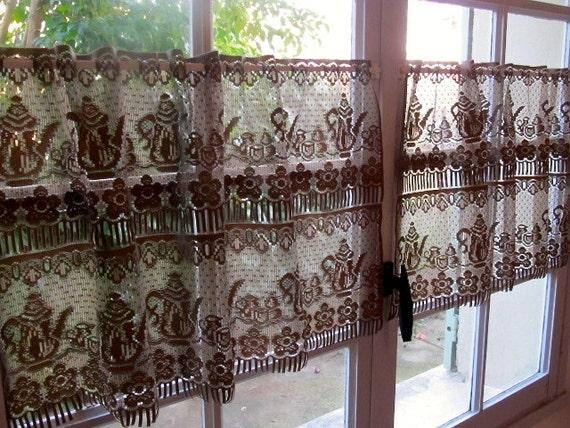 Brown Lace Valances Pair Cafe Curtains Mocha Kitchen Lace