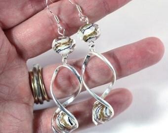 Black, Gold, and White Swirl Crystal Bead Trendy Spiral Earrings - Fashion Jewelry - Handmade - Womens earrings - Silver spiral earrings