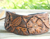 Leather Cuff Bracelet - Handmade Tooled Jewelry - Spring and Summer Flowers - Rustic Accessories for Her