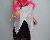 NEON Pink Faux Fur Bell Sleeves, White Arm Warmers, Rave, Silver Holographic, See Thru, S, M, Halloween, Festival, Party, Dance, Fluro, SALE