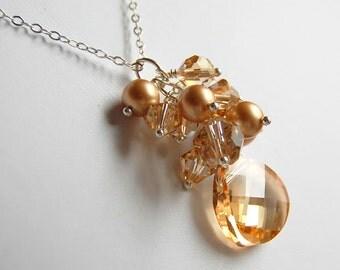 Champagne Crystal Bridal Necklace, Swarovski Crystal Cluster Necklace, Golden Pearl Crystal Cascade, Wedding Necklace, Wedding Jewelry