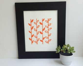 Orange Modern Linocut art PRINT Flower Stems Linoprint 8x10
