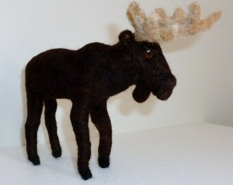 Moose needle felted animal  soft sculpture 6 inches