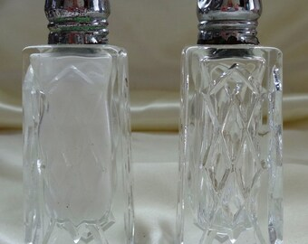 vintage Fancy Clear Cut Glass salt pepper shakers silver toned caps tall