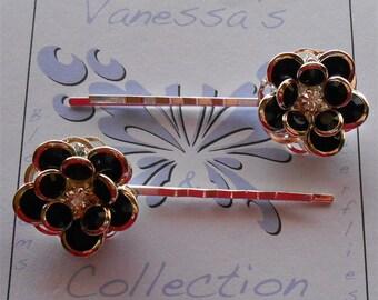 Black Hair Pins, Jet Rhinestone Flowers set of 2