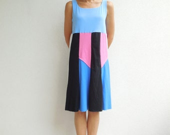 Womens T-Shirt Dress Summer Dress Tees Periwinkle Pink Black Blue Handmade Dress Recycled Dress Summer Dress ohzie