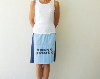 Penn State T-Shirt Skirt Tee Skirt Nittany Lions Eco Friendly Knee Length Skirt Drawstring Recycled Cotton Skirt Handmade Skirt ohzie