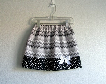 Black and Grey Skirt - Little Girls Chevron Stripe Skirt - Black Grey and White Skirt - Size 12m, 18m, 2T, 3T, 4T, 5, 6  or 7