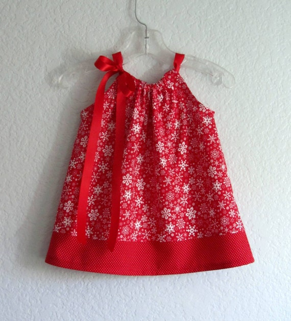 Infant Christmas Dress and Bloomers - Red with White Snowflakes and Polka Dots - 1st Christmas - Size Newborn, 6 Month, 9 Month, or 12 Month