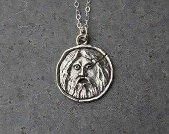 Bocca Della Verita Silver Necklace - Ancient Roman symbol charm -Italy charm - mouth of truth - pagan - free shipping in USA