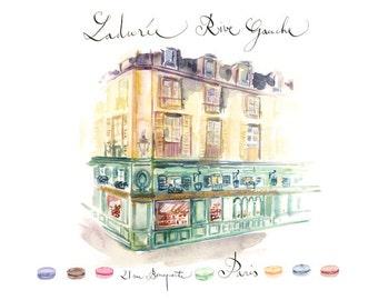 Laduree shop - Paris, Watercolor architectural drawing art print, 11X14 poster, French macarons, Parisian home decor, Paris illustration