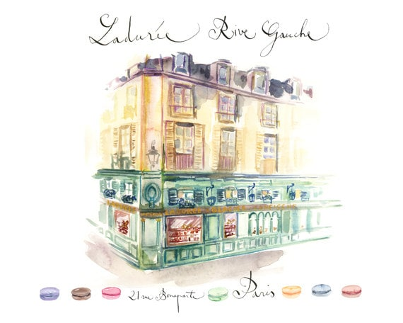 items similar to laduree shop paris watercolor architectural drawing art print 11x14 poster. Black Bedroom Furniture Sets. Home Design Ideas