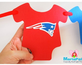 Football Baby Shower,  Banner, New England Patriots party banner, inspired on New England Patriots Football team A1029