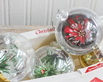 Vintage Jewelbrite Ornaments, Christmas Decoration, Vintage  Christmas Ornaments, Poinsettia, Made USA, Christmas Flowers, Retro, Green