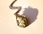 Men's Necklace Dalmatian Jasper Wire-Wrapped Pendant Men's Jewelry