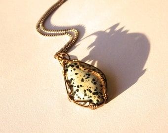 Men's Necklace Dalmatian Jasper Wire-Wrapped Pendant Men's Jewelry