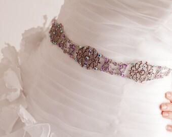 Lavendar Sash - Bridal Belt - Bridal Sash - Lavendar Belt - Wedding Sash - Wedding Belt - Prom Belt - Prom Sash - Crystal Sash - MICHELLE