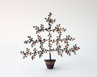 """1/24th Wall Trained blossoming fruit Tree Paper Flower Kit for 1/2"""" scale Dollhouses, Florists and Miniature Gardens"""