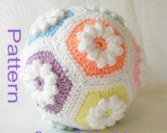 PDF Pattern Crochet Baby Ball Toy Popcorn Ball in Pastel Colors Pink Peach Yellow Mint Blue and Lavender